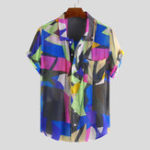 New Men Colorful Irregular Pattern Short Sleeve Relaxed Shirts