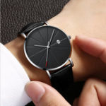 New Deffrun Casual Style Business Leather Strap Men Wrist Watch