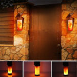 New Solar Flame Wall Light Outdoor Courtyard Garden Landscape Lamp 3 Lighting Modes