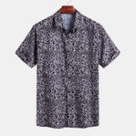 New Mens Summer Leopard Printed Loose Fit Casual Shirts