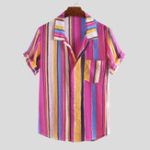 New Mens Fashion Colorful Stripe Printed Pocket Casual Shirts