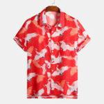 New Mens Fashion Crane Printed Chinese Chest Pocket Shirts
