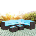 New Folding Table  TOPMAX 5-Piece Outdoor Furniture Sets Wicker Patio Sectional Sofa Garden Conversation Set with Two Tea Tables Blue Cushions Brown Wicker