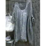 New Women Casual V-Neck 3/4 Sleeve Striped Blouse