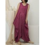 New Casual Loose Crew Neck Side Pocket Sleeveless Maxi Dress