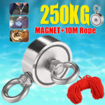 New Double Side 60mm 250KG Neodymium Recovery Magnet with 10m Rope Salvage Tool Strong Recovery Fishing Kits