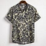 New Mens Summer Floral Printing Casual Henley Shirts