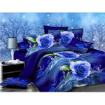 New 3PCS 200 x 230cm 3D Blue Rose Printed Bedding Pillowcase Quilt Cover Bedding Sets Queen Size