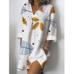 New Women Loose Printed Side Pockets 3/4 Sleeve Shirt Dress