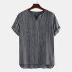 New Mens Vintage 100% Cotton V Neck Short Sleeve Casual Shirts