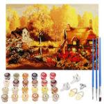 New  Autumn Village Paint By Number Kit DIY Digital Oil Acrylic Paintings Canvas Decor