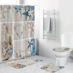New 4Pcs Home Bathroom Bath Mat Waterproof Set Rug Toilet Lid Cover Sandy Beach Shower Curtain