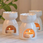 New Lotus Flower Ceramic Oil Incense Burner Tea Light Holder Home Fragrance White