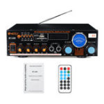 New 1200W 2 Channel Power Amplifier Remote Control Audio Stereo Bluetooth Radio Speaker