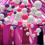 New 30PCS Per Set 6″-14″ Purple White Rose Paper Lantern Chinese Round Lamp Cover Wedding Hanging Decor