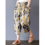 New Vintage Women Floral Print Elastic Waist Pants with Pockets