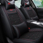 New ( Front + Rear )  Wear Resistant Breathable Leather Car Seat Cushion Covers For Five Seats Car General Auto Accessories