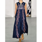 New Elegant Sleeveless V-neck Floral Print Maxi Dress