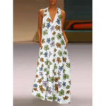 New Bohemian Women V Neck Floral Printed Sleeveless Maxi Dress