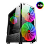 New RGB Computer Case Double Side Tempered Glass Panels ATX Gaming Cooling PC Case with Two 20cm fans Support 360mm Graphics Card