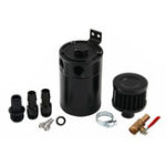New Universal 2-Port Oil Catch Can Tank Reservoir Fuel with Drain Valve Breather Baffled