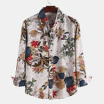 New Mens Autumn Floral Printed Long Sleeve Causal Shirts