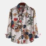 New Mens Autumn Floral Printed Long Sleeve Causal Shirts
