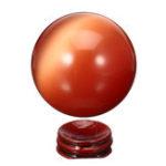 New Cat Eye Crystals Ball Sphere 50-60mm Asian Quartz Rock Healing Home Decor + Stand
