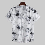 New Mens Summer Chinese Style Ink Painting Printed Shirts