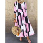 New Women 3/4 Sleeve O-neck Geometric Print Loose Maxi Dress