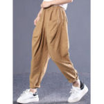 New Solid Color High Elastic Waist Pocket Pants