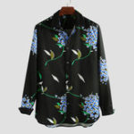 New Mens Leaf Floral Printed Autumn Long Sleeve Loose Shirrts