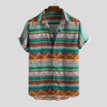 New Mens Summer Colorful Stripe Printed Casual Shirts