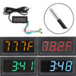 New 0.56 Inch 200V 3-in-1 Time + Temperature + Voltage Fahrenheit Display DC7-30V Voltmeter Electronic Watch Clock Digital Tube