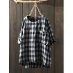 New Women 3/4 Sleeve O-neck Irregular Hem Plaid Blouse