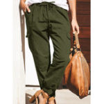 New Women Solid Color Cotton Pockets Overalls Trouser Pants