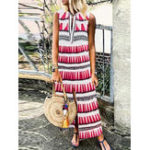 New Casual Women Loose Printed V-Neck Sleeveless Dress
