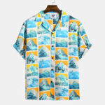 New Mens Summer Pattern Printing Short Sleeve Hawaiian Shirts