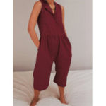 New Women Pure Color Button Down Side Pockets Jumpsuit