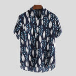 New Men Leaf Drop Print Short Sleeve Hawaiian Shirts