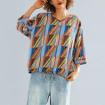 New Women 3/4 Sleeve V-neck Geometricl Printing Blouse