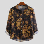 New Men Camouflage Floral Print Long Sleeve Shirts