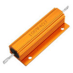 New 5pcs RX24 100W 4R 4RJ Metal Aluminum Case High Power Resistor Golden Metal Shell Case Heatsink Resistance Resistor