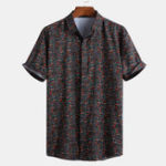 New Mens Small Floral Printed Ethnic Style Shirts