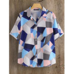 New Women Short Sleeve Geometric Print Turn-Down Collar Blouse