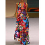New Women Casual Art Print V-Neck Sleeveless Dress