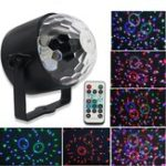 New 6W LED Crystal Small Magic Ball Lamp 6 Color Remote Sound Control Stage Light for Disco Party Bar AC90-240V