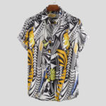 New Men Irregular Pattern Print Short Sleeve Relaxed Shirts