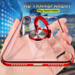 New Bakeey Transparent Ring Holder Color Plating Anti-Scratch Hard PC Protective Case For Xiaomi Mi8