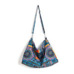 New Women Ethnic Bag Vintage Canvas Large Crossbody Bag